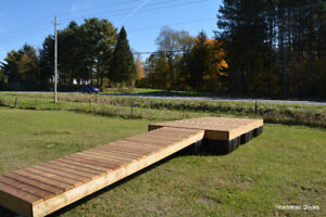 8' x 16' pressure treated floating dock with a 4' x 16' ramp