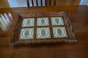 VINTAGE/ANTIQUE WOOD & TILE SERVING TRAY Kingston Kingston Area image 4