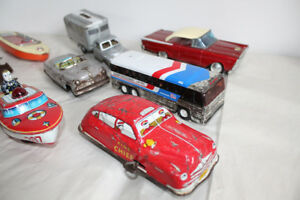 Old Tin Toys - Car Truck Boat Windup Friction Litho Japan Toy