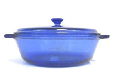 Anchor Hocking Ovenware Cobalt Blue Glass Casserole 9 Inch 2 Qt With Lid