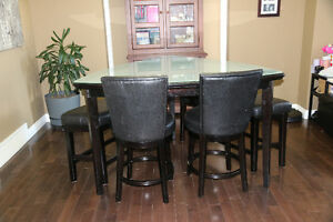 Raised table, chairs and benches