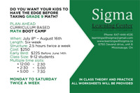 Curriculum-based Math Boot Camp for Summer Grades 9 and 11.