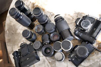 Assorted Canon FD lenses and F1 (film) cameras, & More, for sale