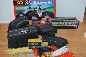 Scalectric Slot Car Set, Lots of Track and Extra Parts