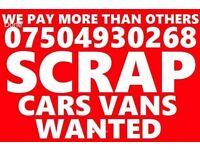 07504930268 CAR VAN BIKE SELL MY BUY YOUR SCRAP FOR CASH BEST