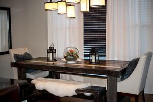 Rustic Solid Wood Dining Table and Benches
