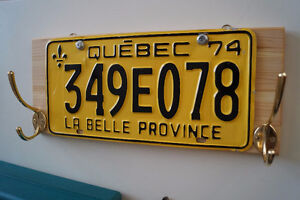 Clothes hanger with old QC car plate. Hand made!