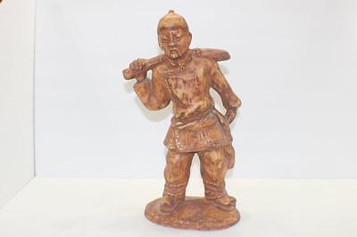 "Ceramic Mongolia Mongolian Statue 14"" Tall carrying basket planter"