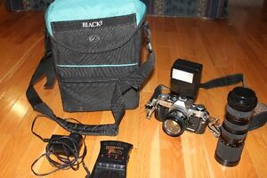 VERY NICE CANON AE-1 CAMERA with 2 LENSES, with ACCESSORIES &