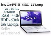 "Sony Vaio SVE1511K1EW, 15.6"" Laptop, Core i3 2nd Gen, 4GB Ram, 500GB HDD -0550"