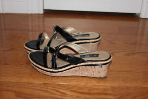 Black strap sandal with cork wedge size 9