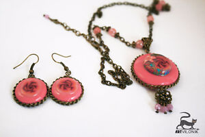 Handmade charm pendant necklace and earrings Kitchener / Waterloo Kitchener Area image 2
