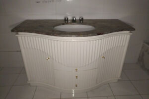 Bathroom Vanity - White, Curved, White, Marble, Undermount Sink