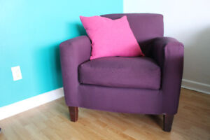 Comfy purple armchair