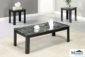 Brand NEW Black Marble 3-Piece Coffee Table! Call 306-347-3311!