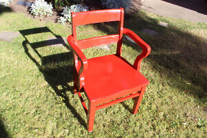 Updated oak office chair now in bright red