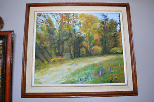 Original oil on canvas landscape signed by artist 27 X 31 inches