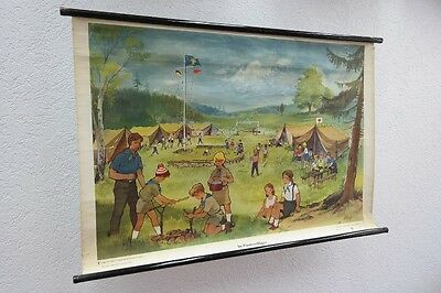 Old Large Teaching Board in the Pionierzeltlager, Wall Map, Role Vintage, Decor