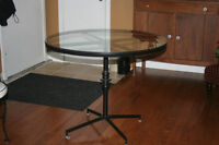 Wrought Iron Glass Top Table & Four Vinyl Chairs