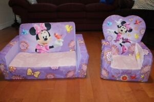 Kids Minnie Mouse Fold Out Couch and Chair