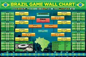 World Cup Wall Chart 2014 - Maxi Poster 61cm x 91.5cm (new & sealed)
