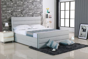 Brand NEW #203 Queen size Gray Fabric Bed Frame