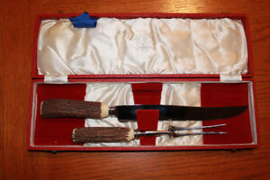 Stag horn carving set.