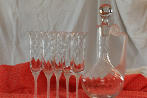 Crystal carafe and wine glasses