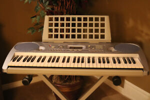 Yamaha Keyboard with Stand, Adapter, Sustain Pedal