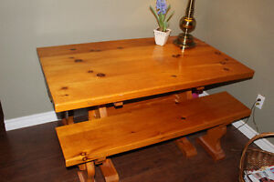 CUSTOM PINE TABLE AND BENCHES