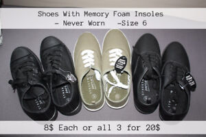 Size 6 Shoes- memory foam insoles, New!