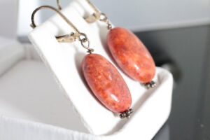 NEW SOLID STAMPED 925 SILVER  GENUINE PINK CORAL DROP EARRINGS