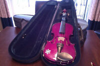 1/4 size Purple Violin with sholder rest/case/bow