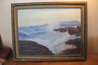 Vintage Painting of Waves Crashing Against the Shore