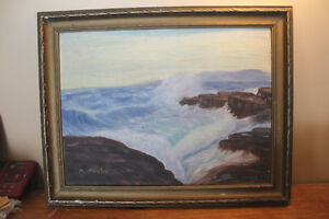 Vintage Painting of Waves Crashing Against the Shore London Ontario image 1