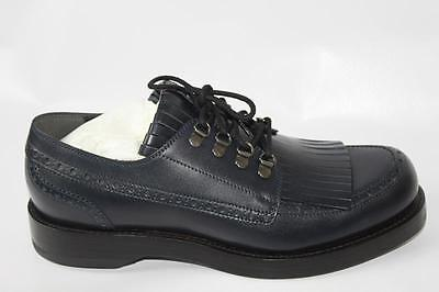 AUTH $1000 Gucci Men Navy Leather Fringed Wing Tip Lace Up Shoes Gucci 9/US9.5