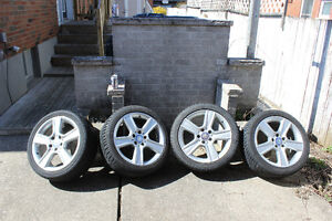 """Mercedes-Benz C-Class 17"""" RIms wt Dunlop Winters  and Can of PBR"""