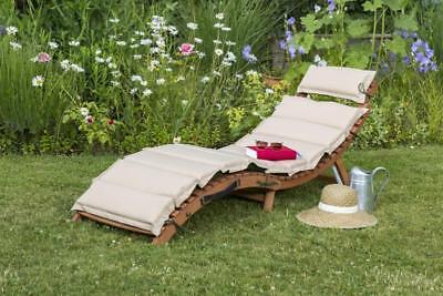 Merxx Gartenliege Liege Ipanema inkl. Wendekissen grün/beige FSC Eukalyptusholz
