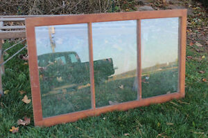 Large 3 Pane Wooden Window with Glass