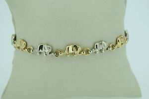 10K White and Yellow Gold Elephant Bracelet