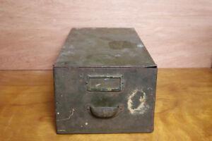 Antique Metal Green Cubbie Drawer File