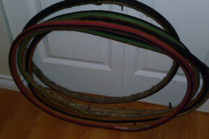 Five tubular tires for sale (sew-ups).