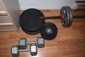 weights plates barbell dumbbells