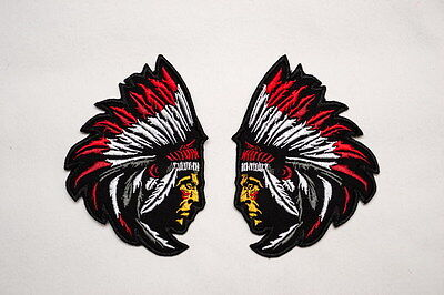 2 pcs opposite Chief Indian Sew-On biker patch