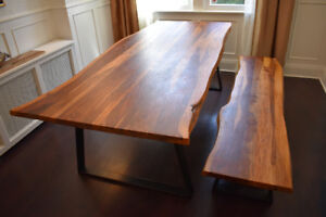 Gorgeous natural wood dining room table and bench