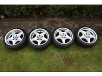 "BMW z3m wheels style 40 17"" staggered set"
