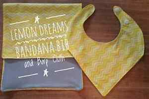 Bandana Bib and Burp Cloth in Lemon Dream