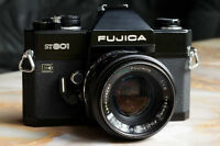 new fujica ST801 film body with fujinon 55 1.8 prime lens