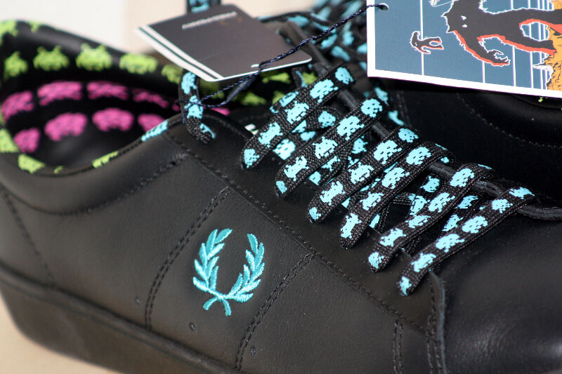 62146b317f Fred Perry SPACE INVADERS Shoes Spencer Leather NEW black SB6008 ...