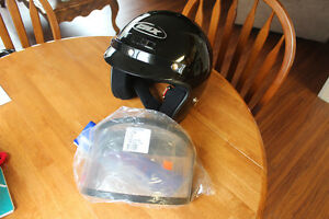 Large Black Motorcycle/ ATV Helmet and Clear Shield
